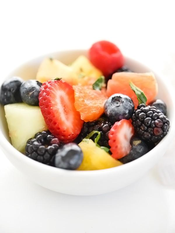 Berry Delicious Fruit Salad | foodiecrush.com #recipe #healthy #mint