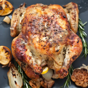 Oven Roasted Chicken with Lemon Garlic Butter | foodiecrush.com