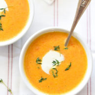 Ginger Carrot Soup made with Greek yogurt | foodiecrush.com
