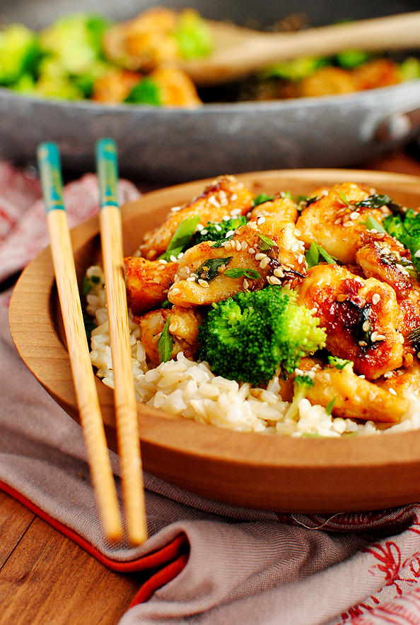 Lighter Sesame Chicken | Iowa Girl Eats on foodiecrush.com