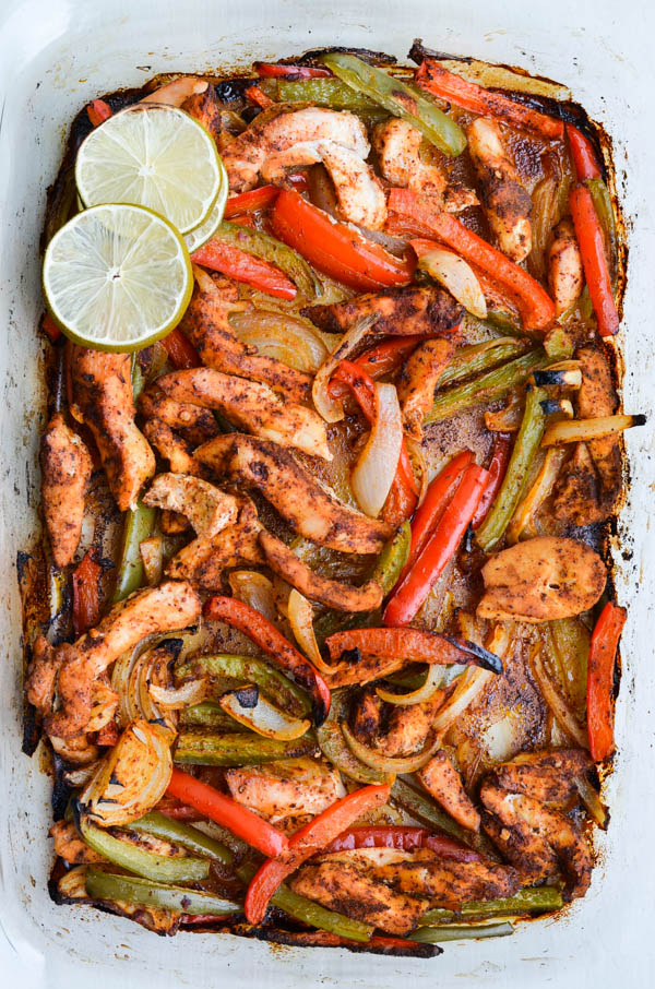 Oven Roasted Chicken Fajitas | Rachel Schultz on foodiecrush.com