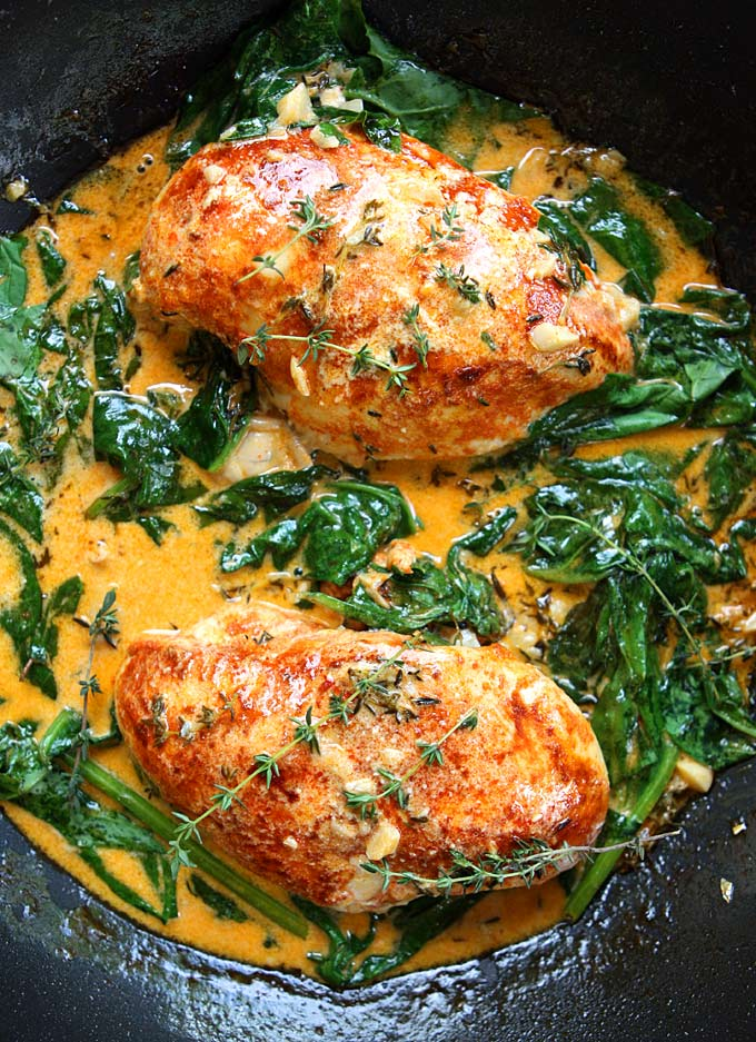 Paprika Chicken and Spinach with White Wine Butter Thyme Sauce | The Kitchen Paper on foodiecrush.com