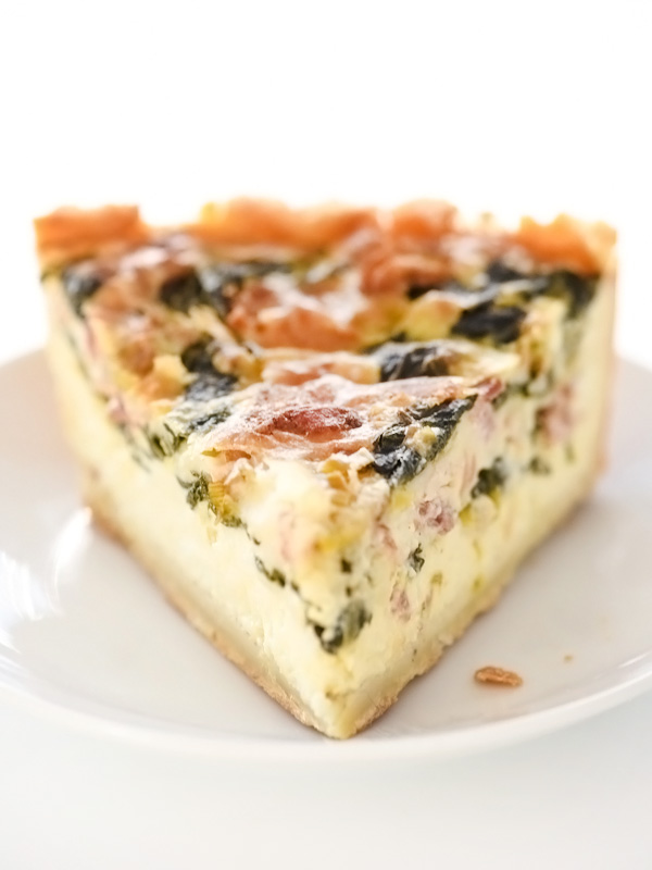 Deep-Dish Spinach Bacon Quiche | foodiecrush.com #recipes #spinach #crusts #eggs