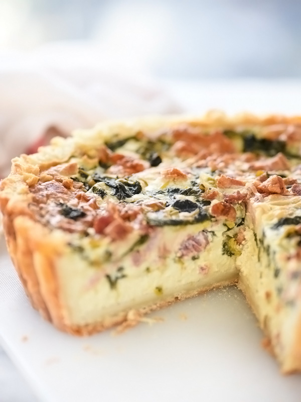 Deep-Dish Spinach, Leek and Bacon Quiche | foodiecrush.com #recipes #spinach #crusts #eggs