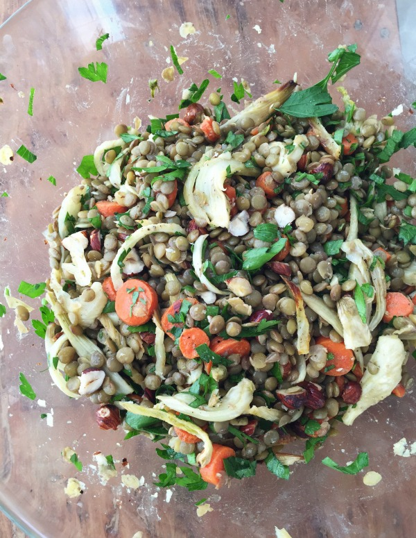 Lentil Salad with Roasted Fennel and Carrots  mountainmamacooks.com | foodiecrush.com