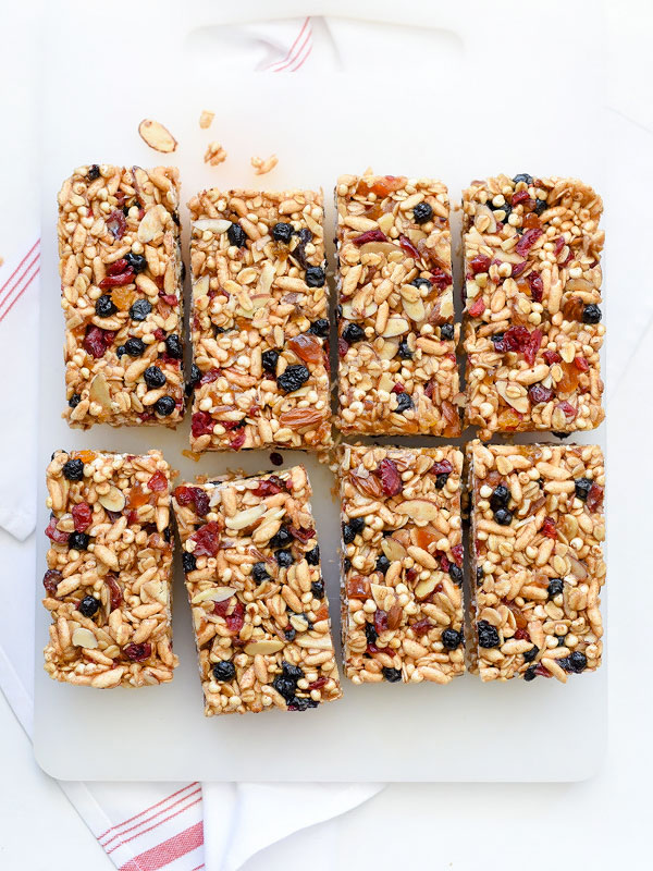 Chewy Almond Butter Power Bars | foodiecrush.com #homemade #recipes #healthy #protein #nobake