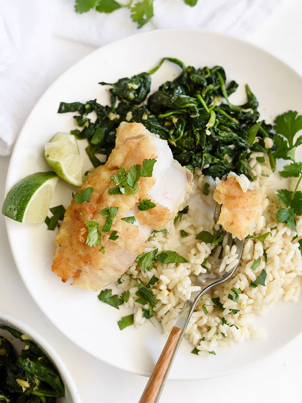 Almond-Crusted Cod with Coconut Rice and Ginger Spinach | foodiecrush.com #recipes #healthy #fish