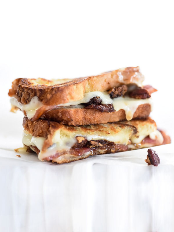 Brown Sugared Pecans and Sweet Bacon with Havarti Grilled Cheese | foodiecrush.com #sandwich #recipes #desserts