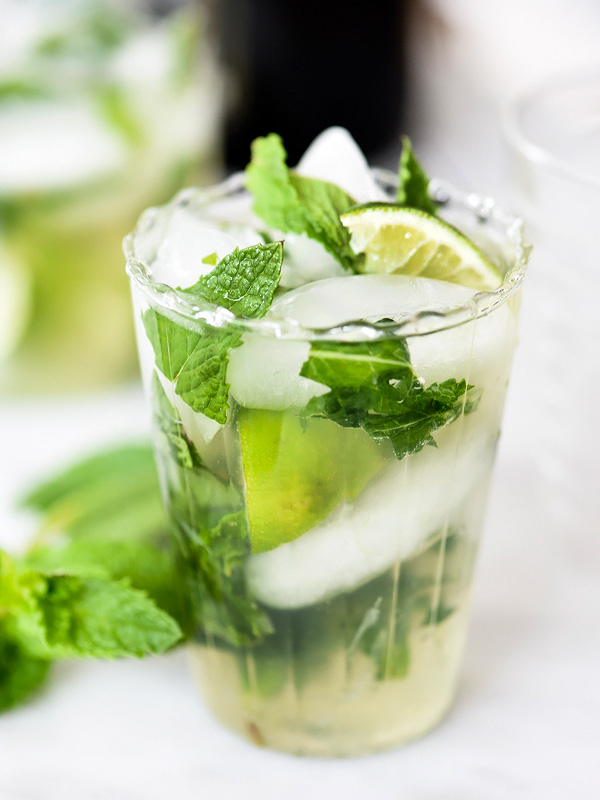 Champagne Mojito | foodiecrush.com #recipe #pitcher #parties #rum