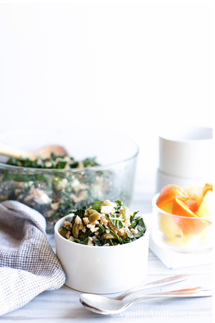 Farro Kale and Olive Salad vanillaandbean.com | foodiecrush.com