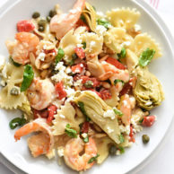 Shrimp Pasta with Roasted Red Peppers and Artichokes | foodiecrush.com