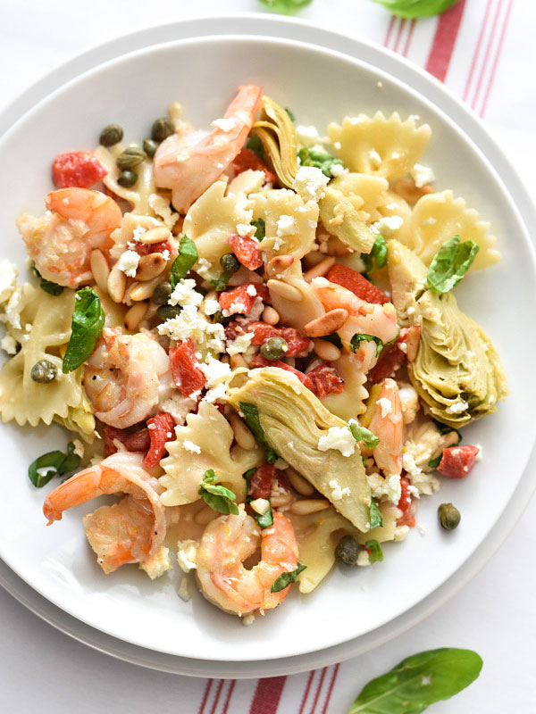 Shrimp Pasta with Roasted Red Peppers and Artichokes | foodiecrush.com #healthy #recipes #easy creamy #garlic
