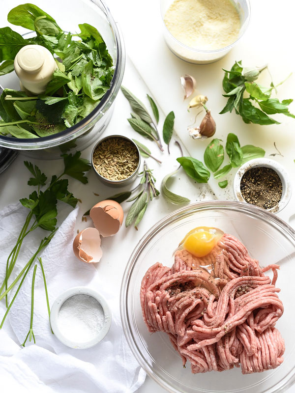 baked turkey meatballs ingredients on countertop