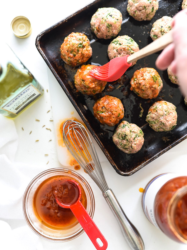 basting ground turkey meatballs with sauce