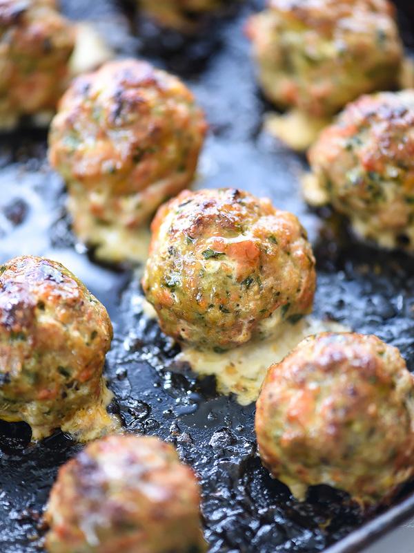 healthy turkey meatballs on baking tray