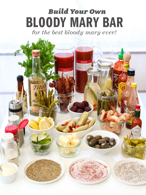 Build Your Own Bloody Mary Bar from foodiecrush.com on foodiecrush.com