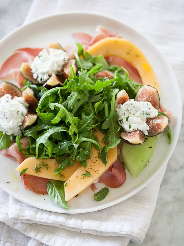 Goat Cheese Stuffed Fig, Melon and Prosciutto Salad from foodiecrush.com on foodiecrush.com