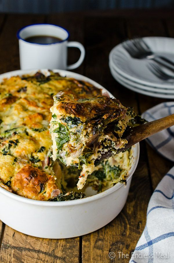 Gruyère, White Cheddar and Kale Strata from theendlessmeal.com on foodiecrush.com