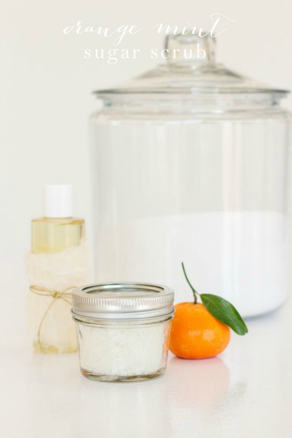 Orange Mint Sugar Scrub from julieblanner.com on foodiecrush.com