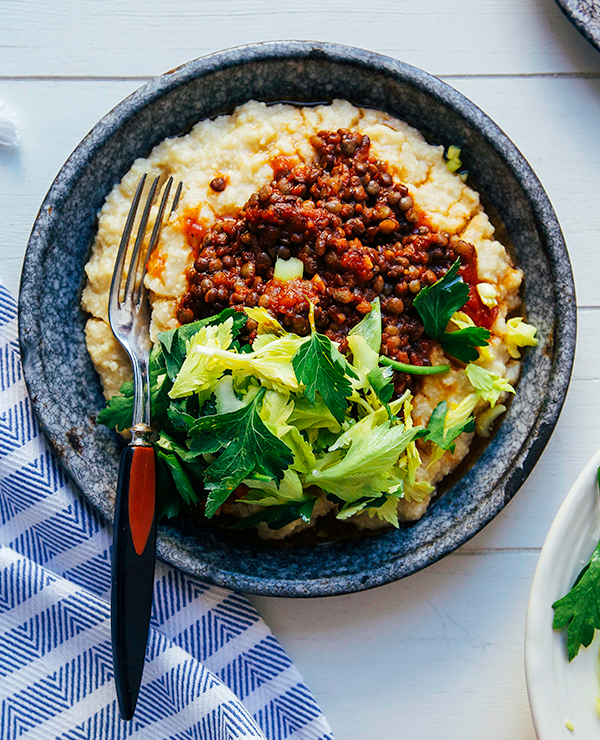 BBQ Lentils with Millet Polenta from The First Mess on foodiecrush.com