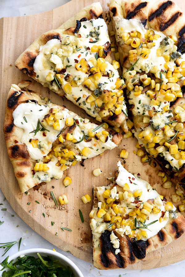 Charred Corn with Rosemary Grilled Pizza