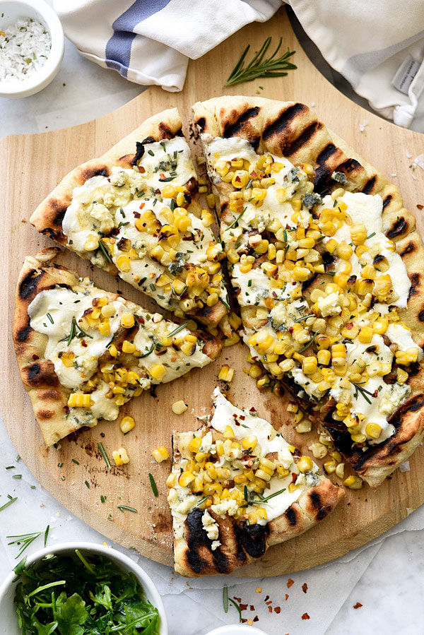 Charred Corn and Rosemary Grilled Pizza foodiecrush.com