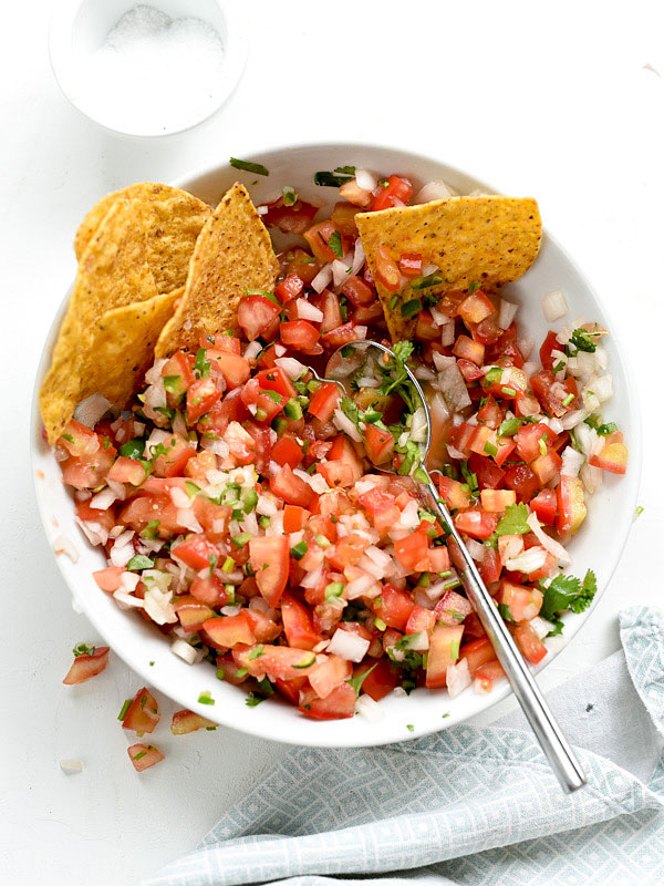 pico de gallo in serving bowl with chips