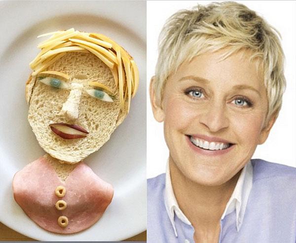 Ellen Degeneres as food art by Marie Saba on foodiecrush.com