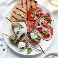 Grilled Turkey Kofta Skewers with Yogurt Sauce | foodiecrush.com