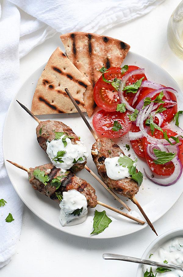 Grilled Turkey Kofta Skewers with Yogurt Sauce | foodiecrush.com #recipe #kebab #turkey