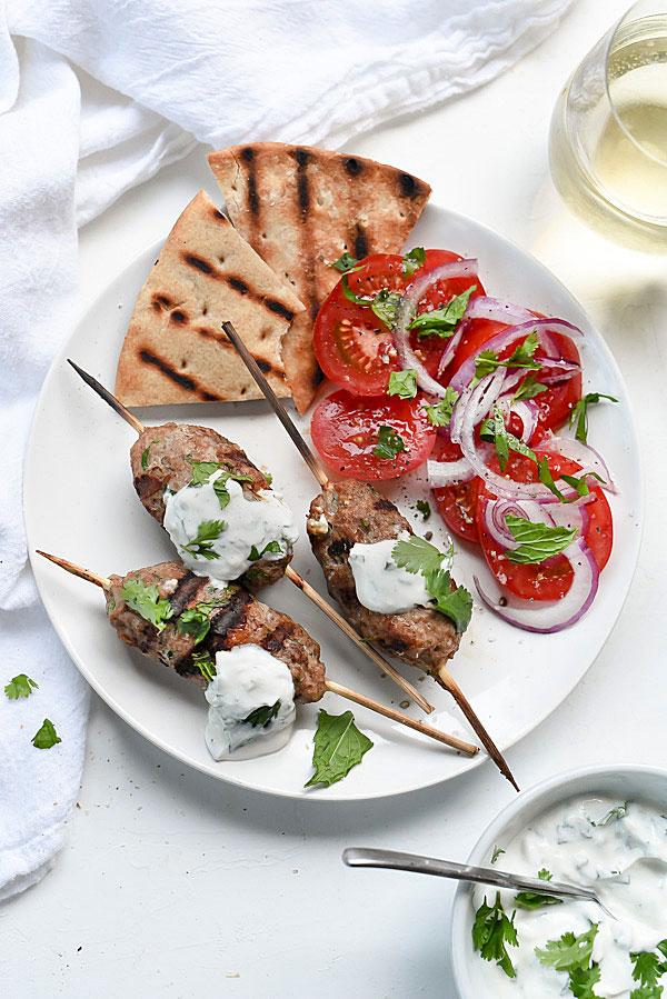 Grilled Turkey Kofta Skewers with Yogurt Sauce