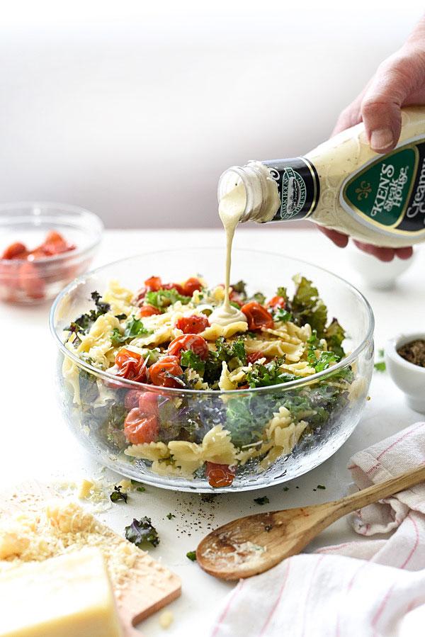 Kale Caesar Pasta Salad   foodiecrush.com #easy #recipes #meals #healthy #kale
