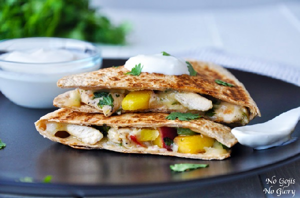 Chicken and Peach Quesadillas with Lime Dipping Sauce from No Gojis No Glory on foodiecrush.com