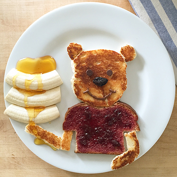 Pooh Bear as food art by Marie Saba on foodiecrush.com