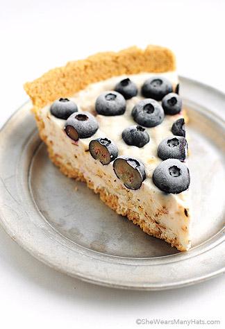 Frozen Blueberry Coconut Yogurt Pie shewearsmanyhats.com on foodiecrush.com