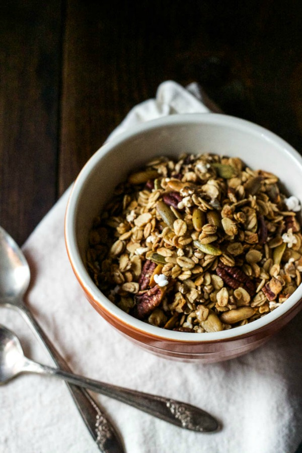 Whole Grain Sorghum Pecan Granola from saltedplains.com on foodiecrush.com