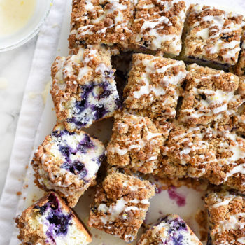 Blueberry Buckle with Lemon Glaze takes the cake for breakfast or dessert | foodiecrush.com