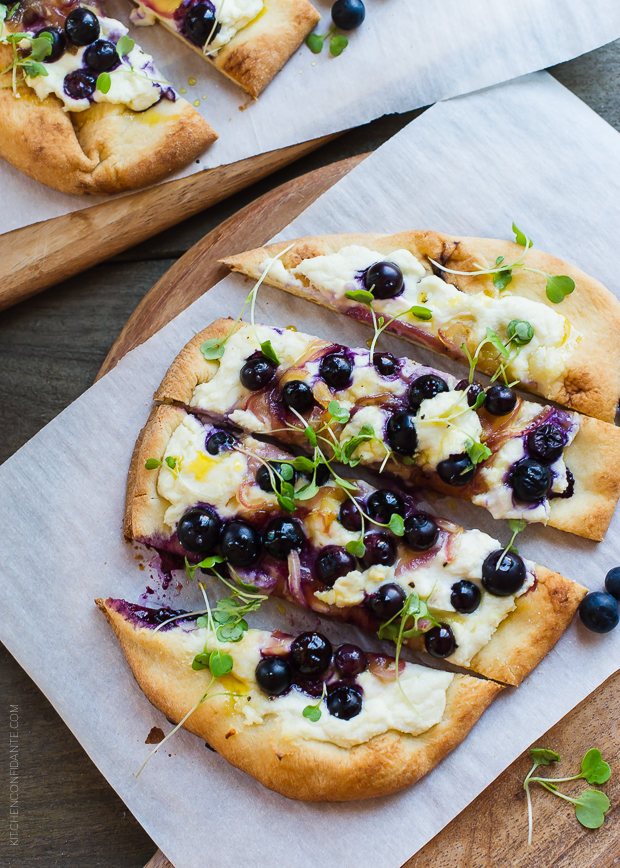 Blueberry, Feta and Honey-Caramelized Onion Naan Pizza by Kitchen Confidante on foodiecrush.com