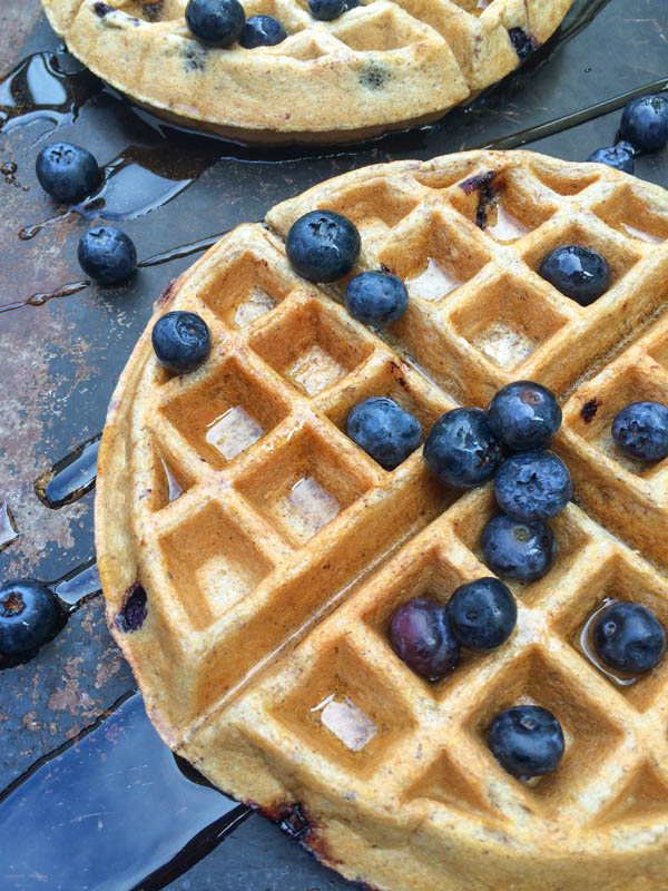 Blueberry Greek Yogurt Waffles by The Lemon Bowl on foodiecrush.com