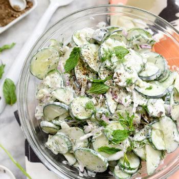 Creamy Cucumber Salad Recipe on foodiecrush.com