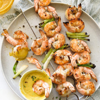 Grilled Shrimp with Sweet or Spicy Mustard Dipping Sauce | foodiecrush.com