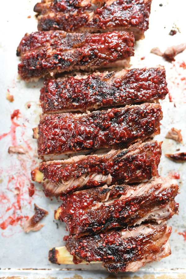 Raspberry Chipotle BBQ Ribs | foodiecrush.com #intheoven #recipe #dinner