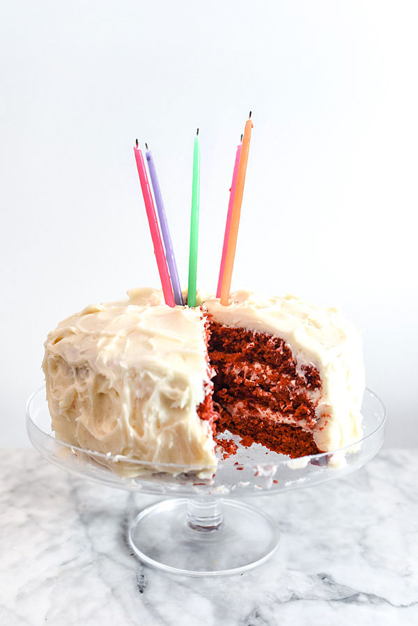 Red Velvet Cake with Cream Cheese Frosting on foodiecrush.com