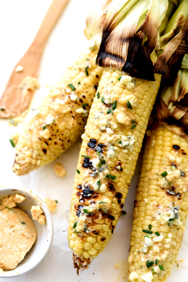 Grilled Corn with Spicy Buffalo Butter | foodiecrush.com #onthecob #recipes #easy