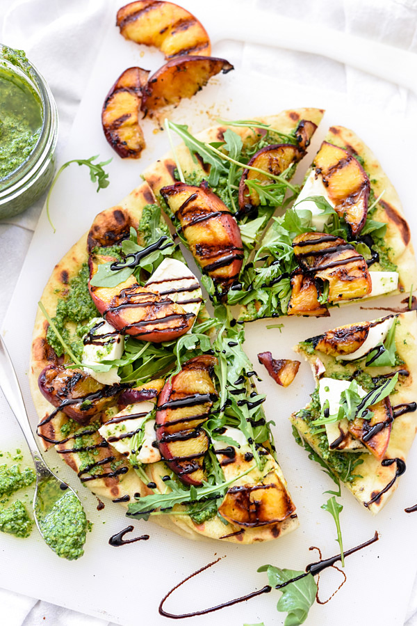 Grilled Flatbread with Peaches and Arugula Pesto | foodiecrush.com #pizza #recipe #healthy #lunches #appetizer #pesto