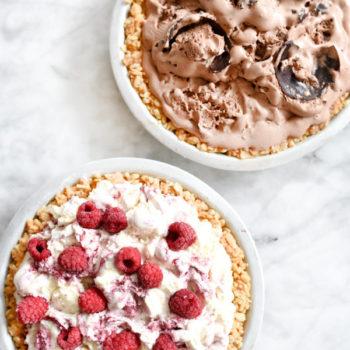 4 Ingredient Ice Cream Pie with Peanut Butter Krispie Crust | foodiecrush.com