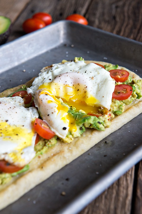 Eggs and California Avocado Flatbread Breakfast from DineandDish.net on foodiecrush.com