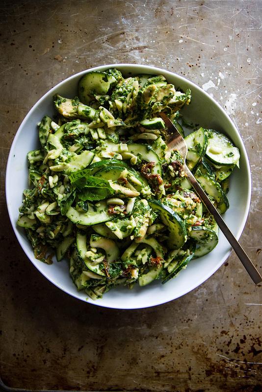 Chicken, Zucchini Pesto Salad from Heather Christo | on foodiecrush.com