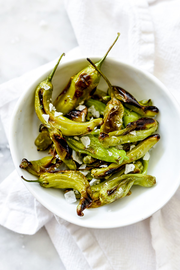 Blistered Shisito Peppers | foodiecrush.com #blistered #recipes #Asian #appetizer