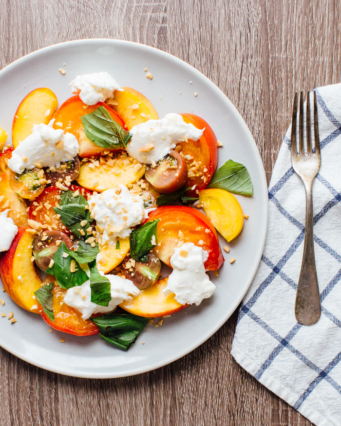 Peach, Heirloom Tomato and Burrata Salad from acouplecooks.com | foodiecrush.com